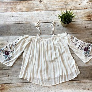 White Boho Embroidered Top